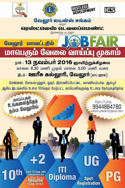 Mega Job Fair 2016 : Voorhees College in Vellore City in Tamil Nadu