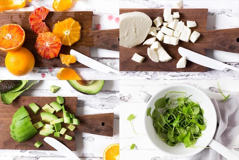 Salat im Glas mit Quinoa, Honig Hähnchen, Orange, Blutorange, Avocado