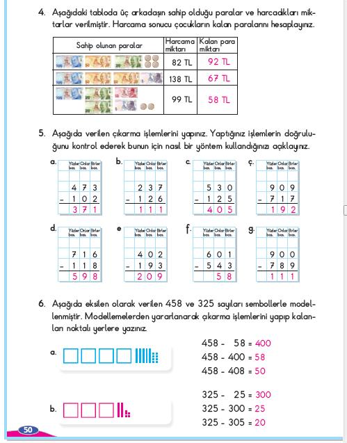 3. Sınıf Berkay Yayınları Matematik Çalışma Kitabı 50. Sayfa Cevapları Çıkarma İşlemi Yapalım 6-1. Çalışma
