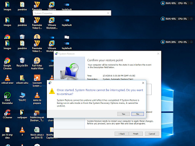 confirm system restore in windows 10