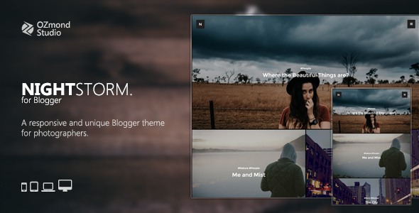 NightStorm: Responsive & Unique Blogger Theme for Photographers