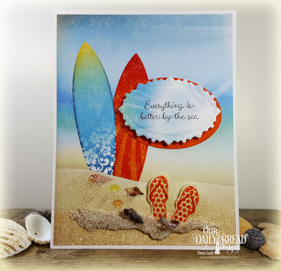 Our Daily Bread Designs Stamp Sets: By the Sea, Flip Flop Fun, Our Daily Bread Designs Paper Collection:By the Shore, Our Daily Bread Designs Custom Dies:Ornate Ovals dies, Ovals, Flip Flops