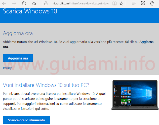 Sito Microsoft download Windows 10
