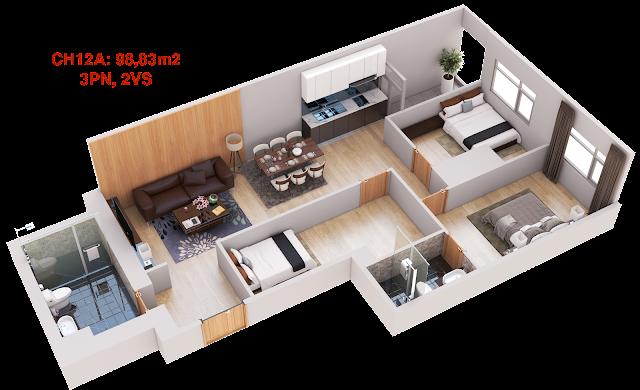 Thiết kế căn hộ 12A tháp doanh nhân