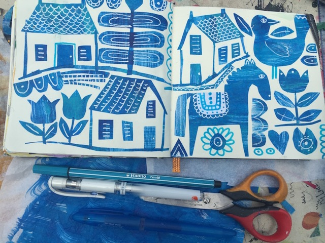 Tracey English, sketchbook, workspace, art, blue, collage