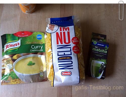 """Knorr Feinschmecker -Curry Cremesuppe, Das Emcur - Bio Matcha Grünteepulver und Bernbacher """"Im Nu Nudeln"""""""
