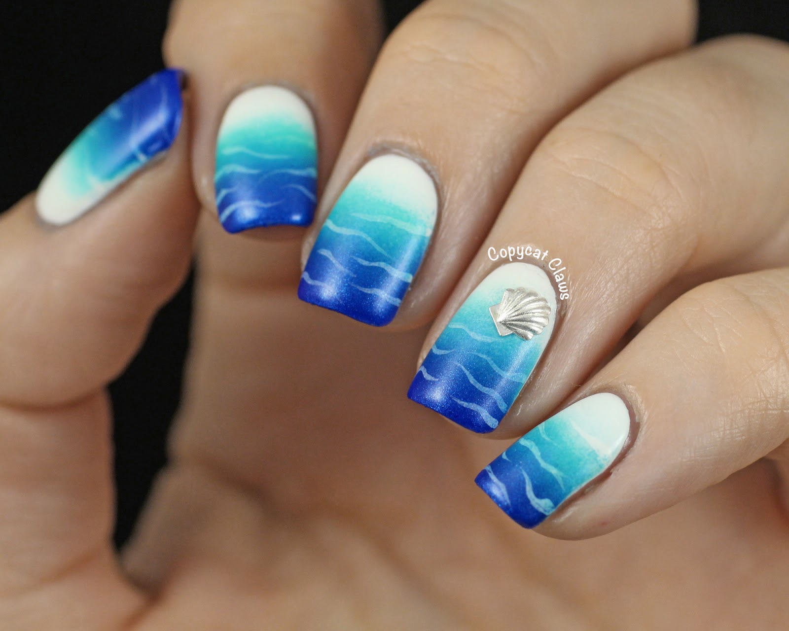 Water Nail Art: Copycat Claws: Beachy Blue-White Gradient Nails