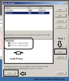 Setting Proxy Server pada proxifier