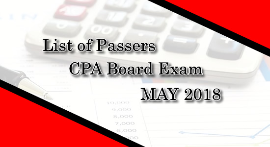 List of Passers CPA Board exam May 2018