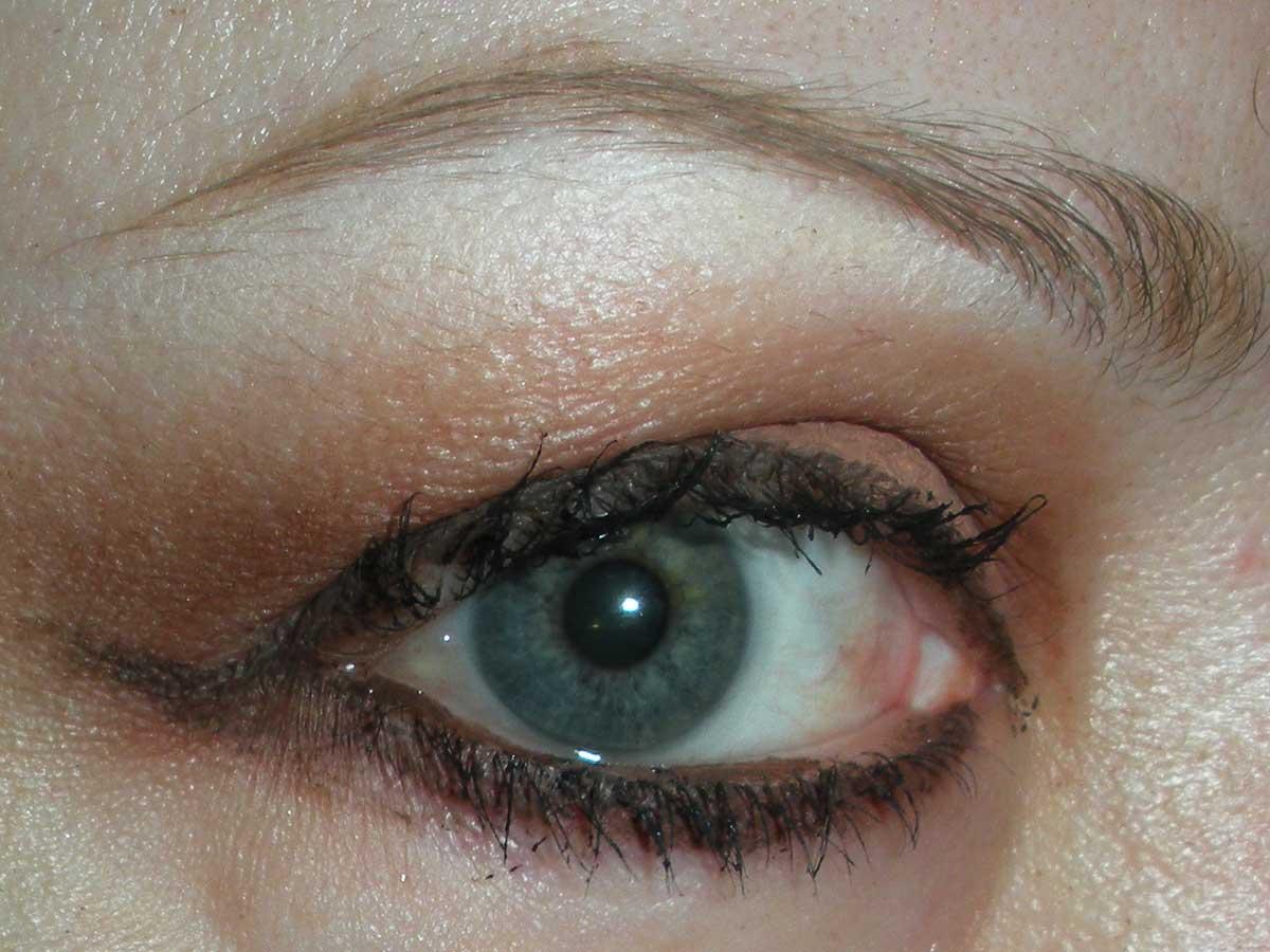 Brown eye shadow and lipstick