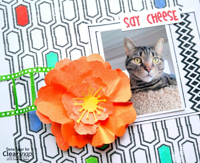 Say Cheese Hand Stamped Cat Layout by Dana Tatar