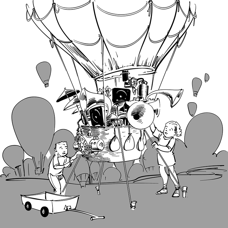 kid's children's picture book black and white line drawing illustration climax scene cartoon boy and girl with fantasy balloon equiped with musical instruments