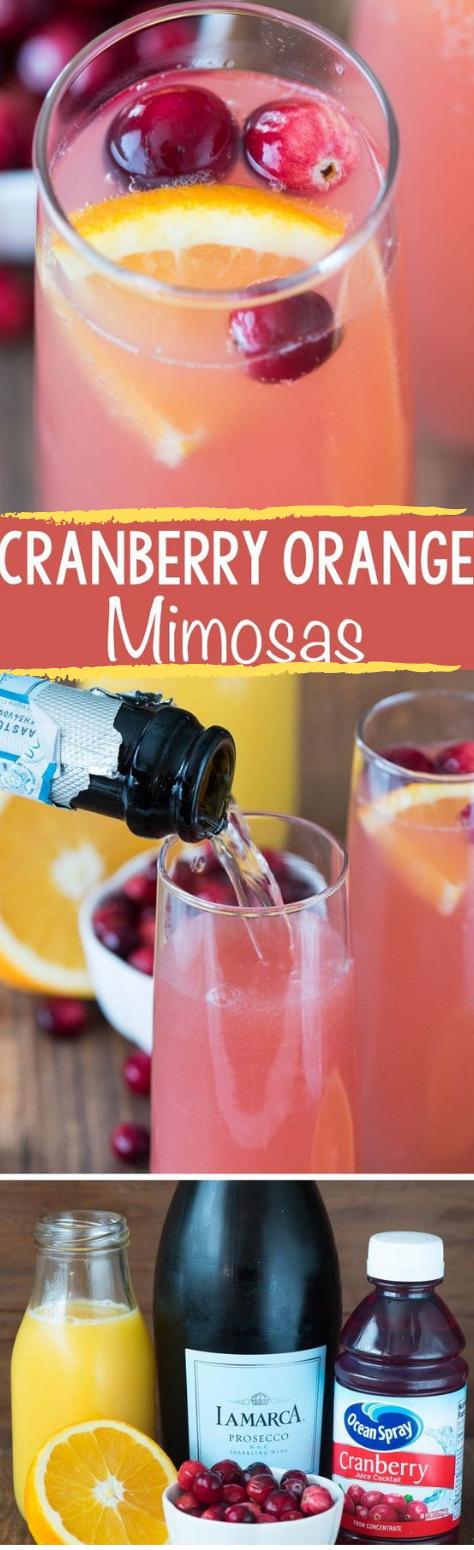 CRANBERRY ORANGE MIMOSAS #healthydrink #cranberry