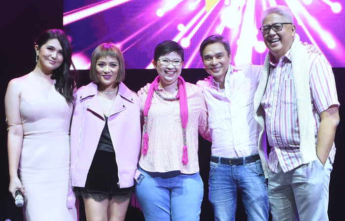 Event host, Dimples Romana with mentors Georcelle Dapat-Sy, Kara Escay,   Robert  Alejandro, and Maestro Ryan Cayabyab