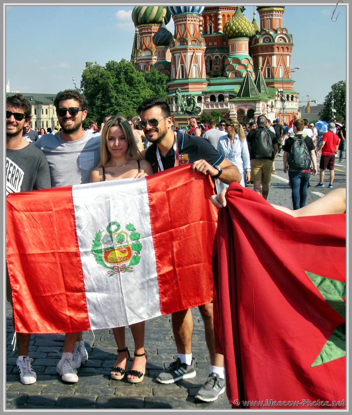 Football fans on Red Square in Moscow during the 2018 FIFA World Cup