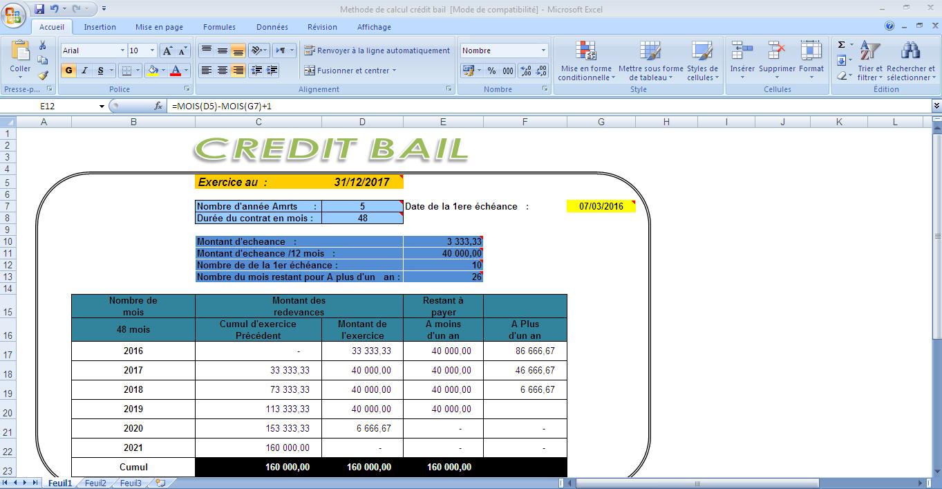 78999 - Calcule de crédit bail sur excel Gratuit