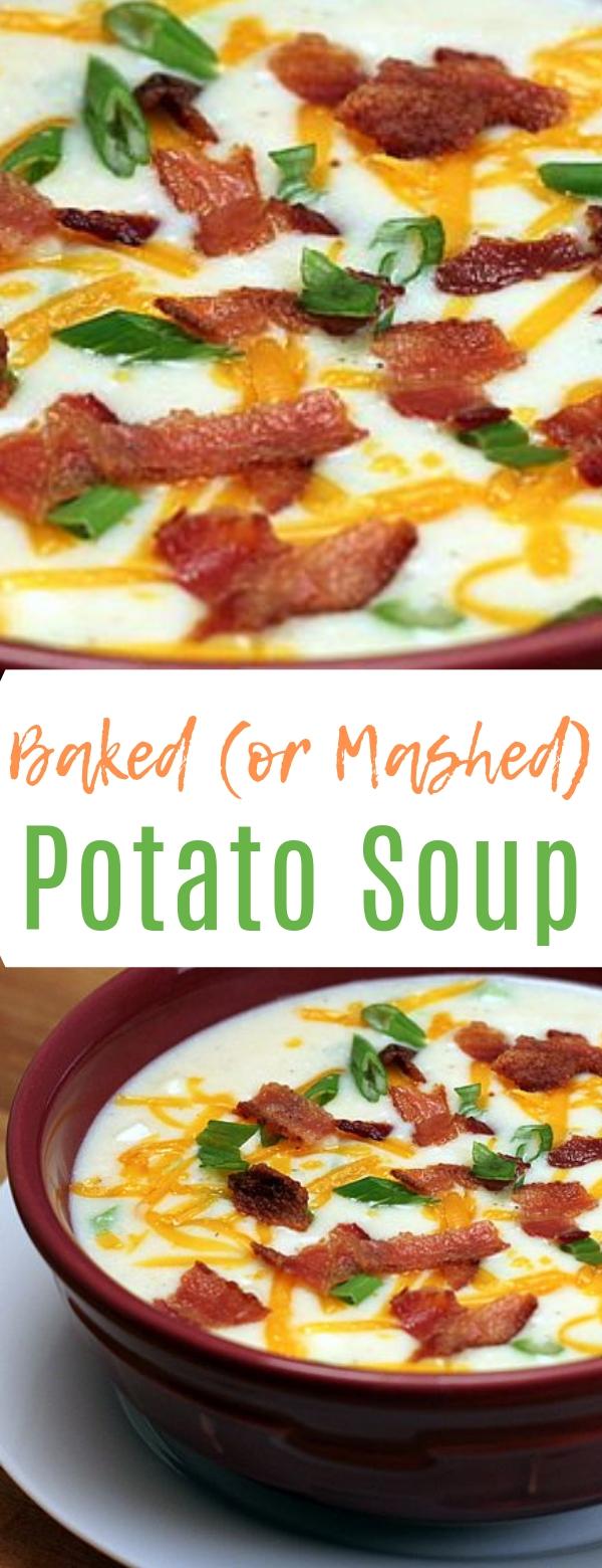 Baked (or Mashed) Potato Soup #baked #potato #soup #keto #healthy #healthyfood