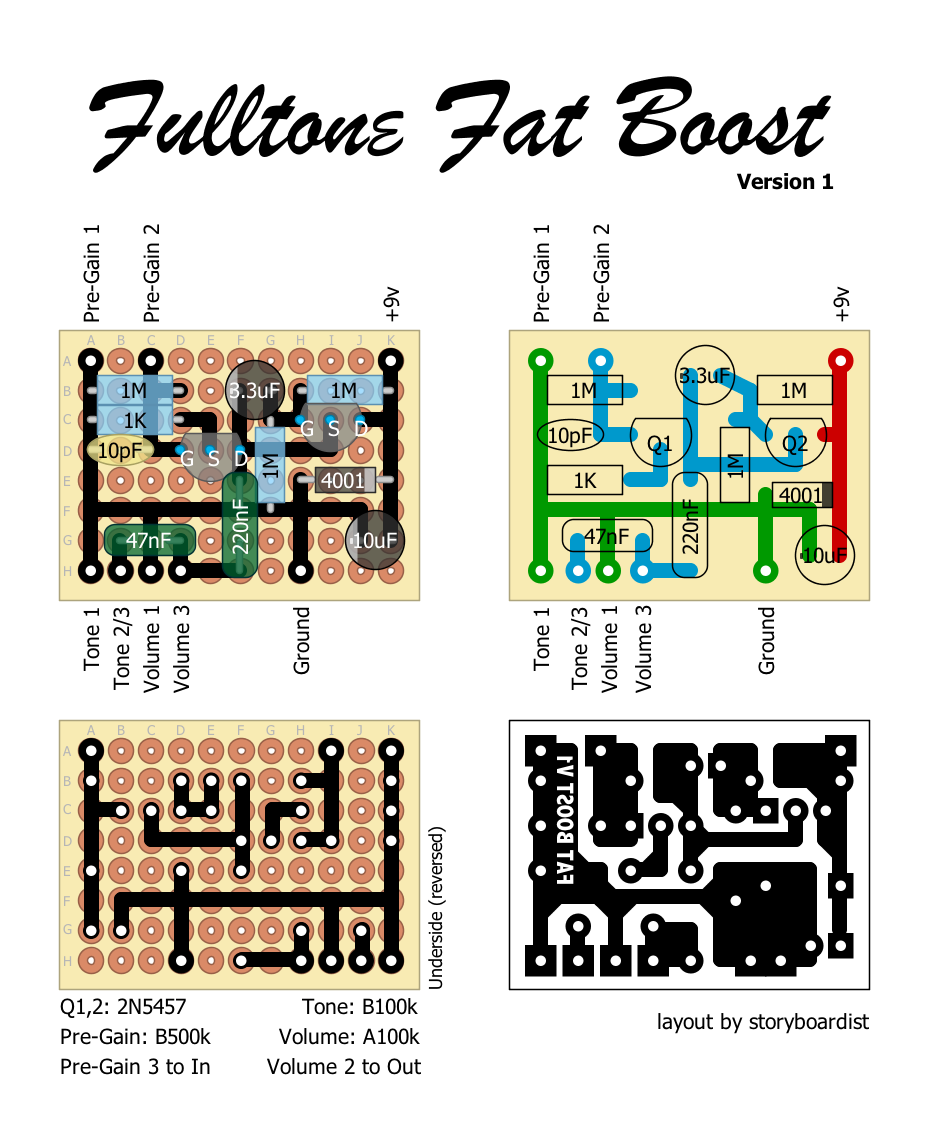 perf and pcb effects layouts fulltone fat boost v1. Black Bedroom Furniture Sets. Home Design Ideas