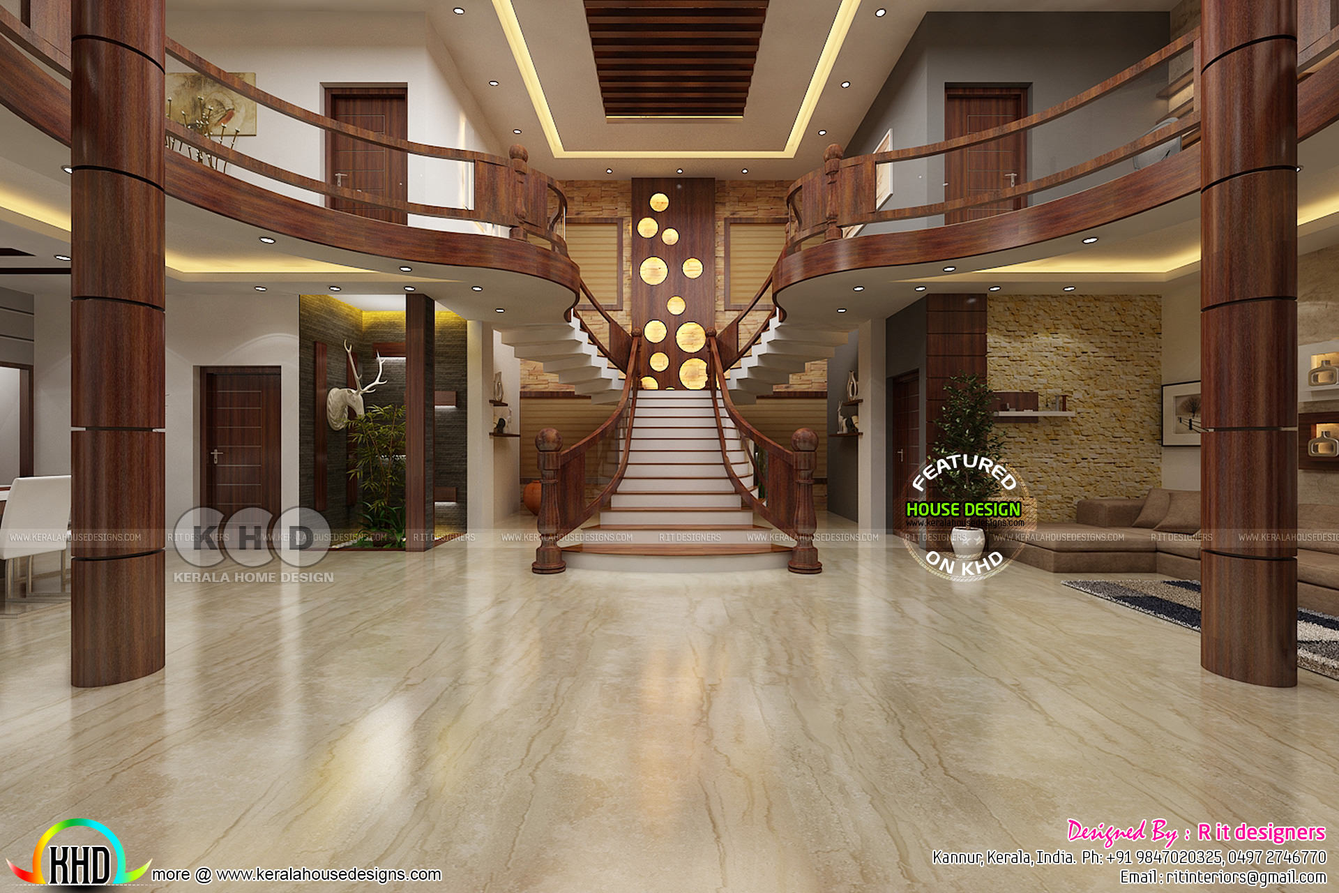 Stunning Wooden Bifurcated Stair Design Kerala Home Design