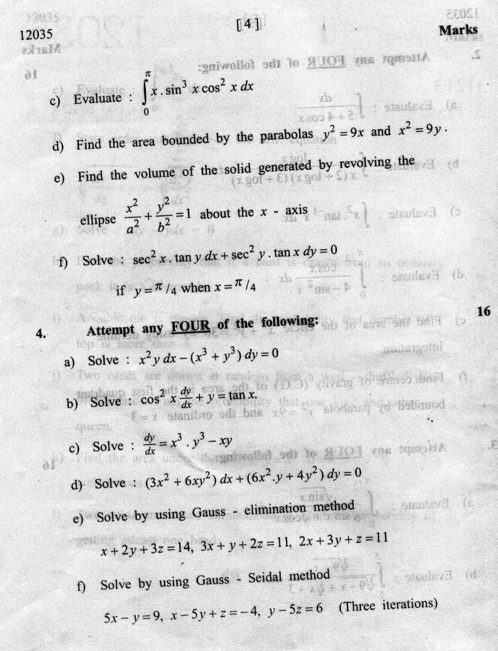 MSBTE Mumbai 3rd Sem DME Applied Mathematics 2012 Question