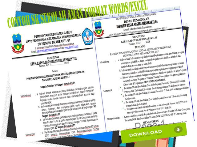 Contoh SK Sekolah Aman Format Words/Excel