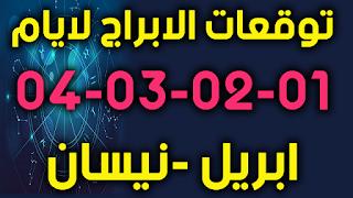 توقعات الابراج لايام 01-02-03-04 ابريل -نيسان 2019
