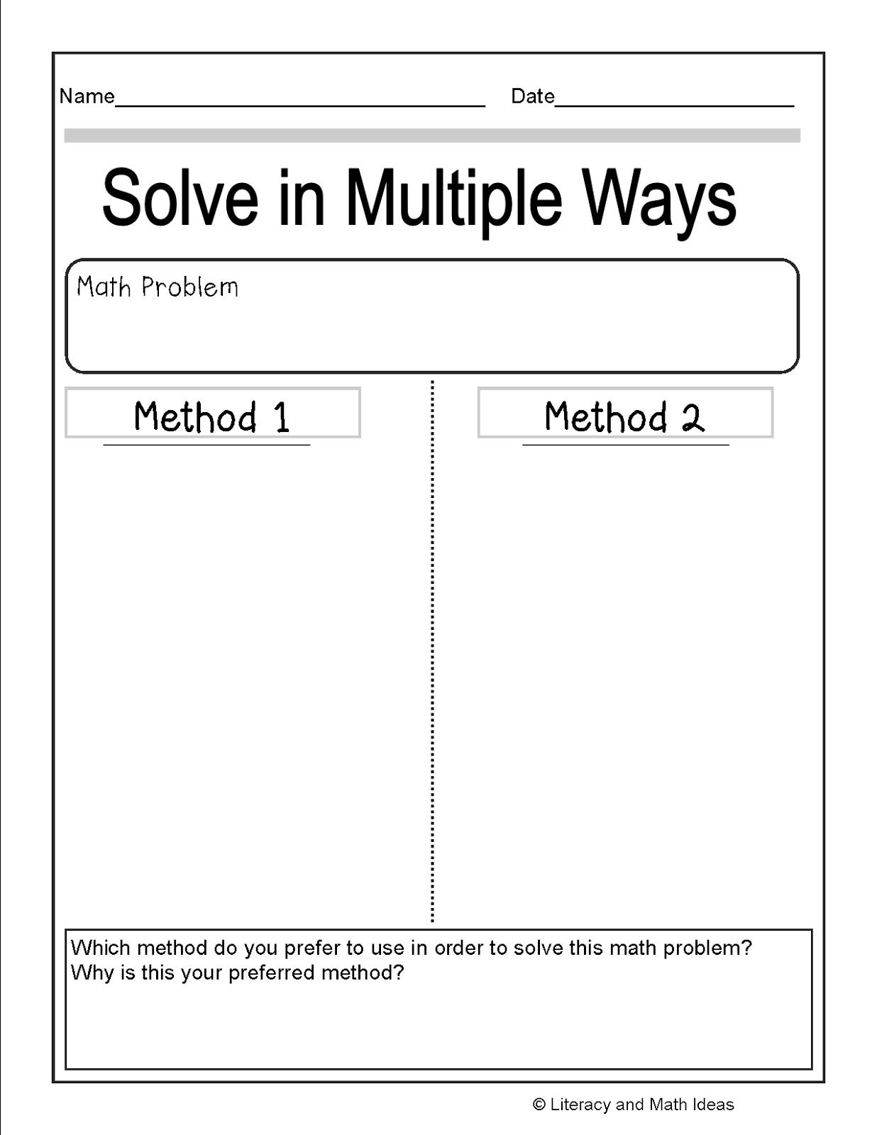 Literacy Amp Math Ideas Solve Math Problems In Multiple Ways