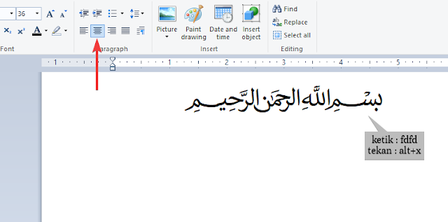 Cara Menulis بِسْمِ اللّٰهِ الرَّحْمٰنِ الرَحِيْمِ Bismillahirahmanirrahim di Word