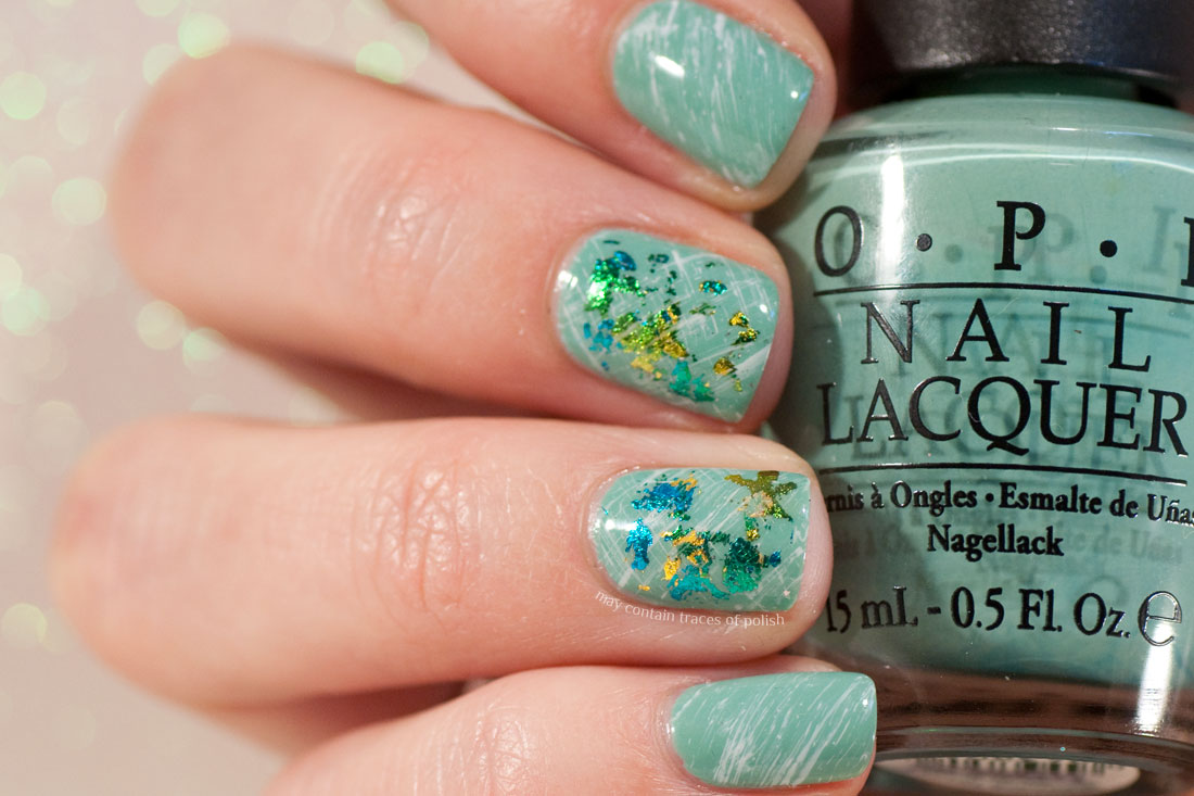 Green Foil Simple Manicure Nail Art