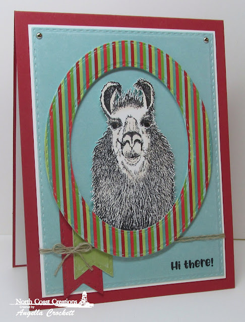 NCC Llama Tell You, NCC Sweet Shoppe Paper Collection, ODBD Custom Double Stitched Pennant Flags Dies, ODBD Custom Double Stitched Rectangles Dies, ODBD Custom Double Stitched Ovals Dies, Card Designer Angie Crockett