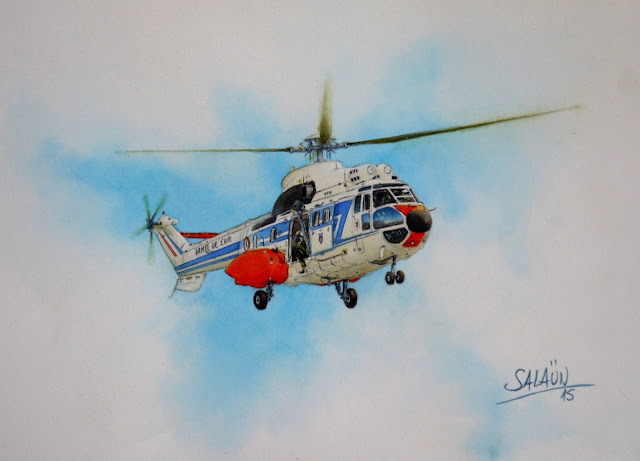 Aquarelle AS 332-L Super-Puma EH 01/044 Solenzara