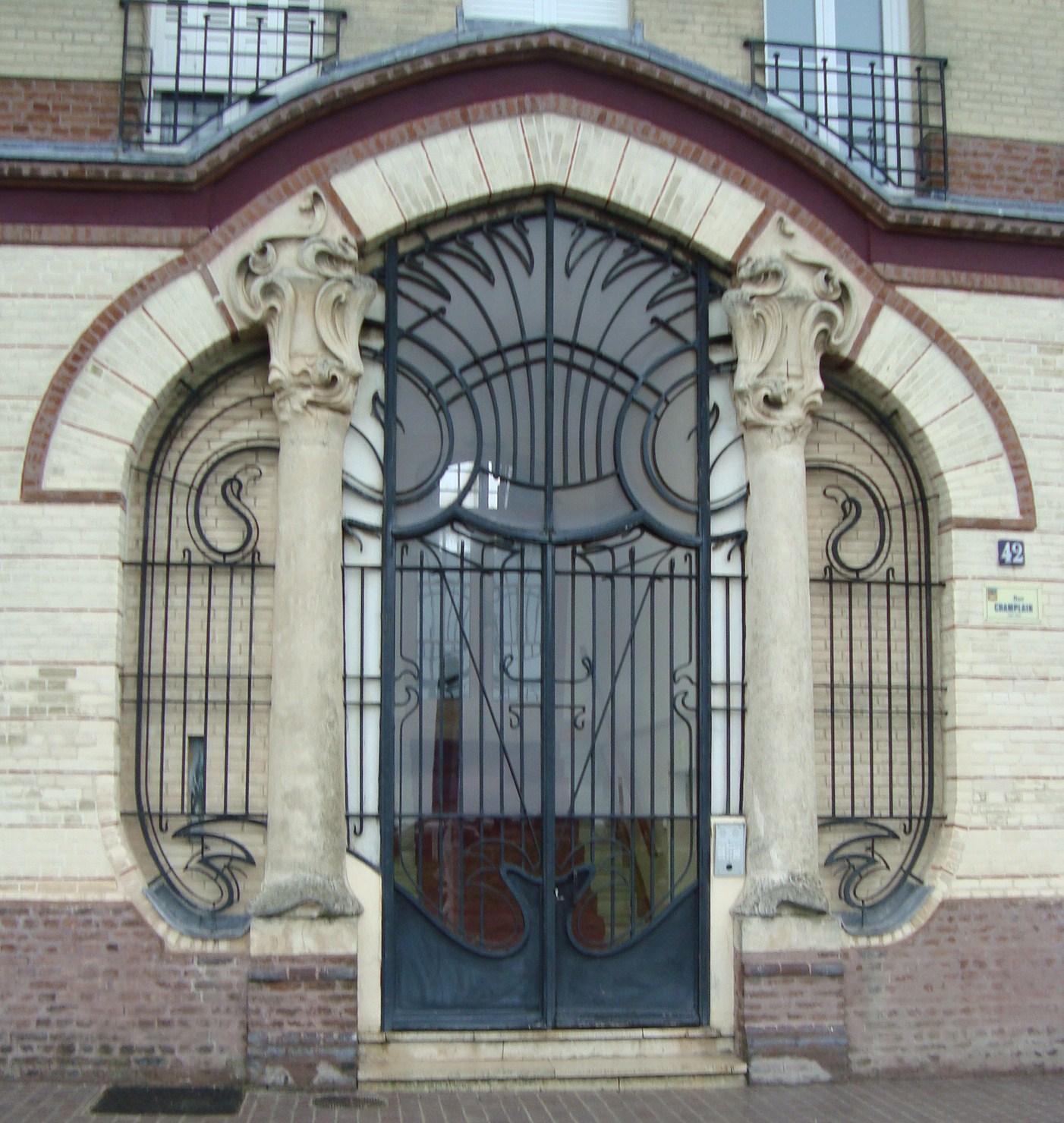 paseos art nouveau: porte (25) immeuble braque, 42, rue champlain