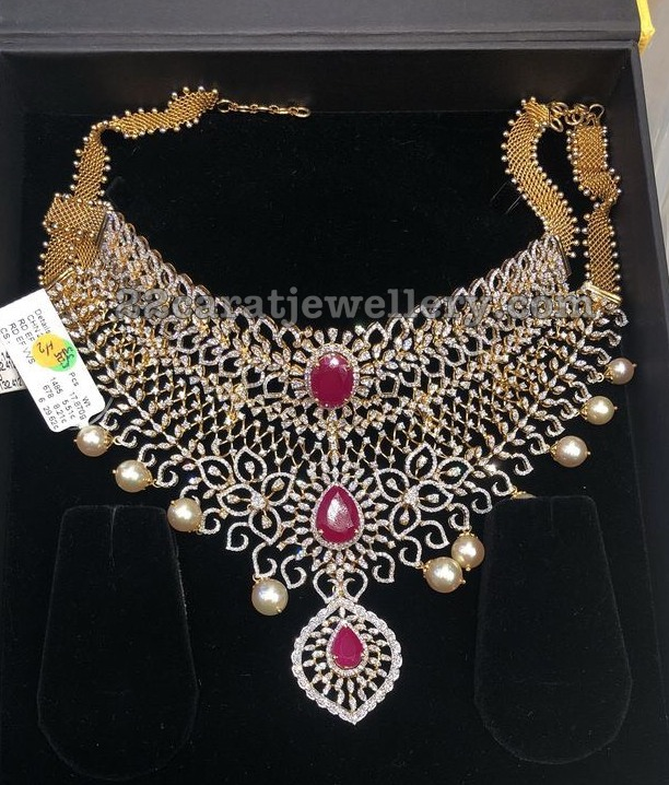 Huge Two Tone Diamond Necklace with Rubies