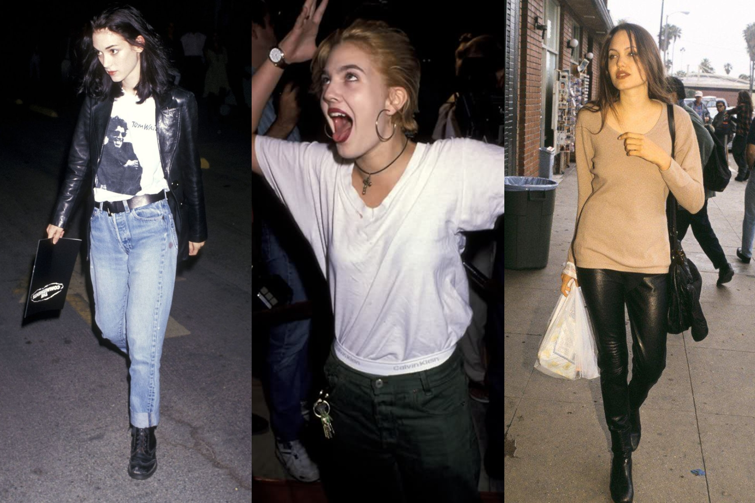 Winona Ryder, Drew Barrymore & Angelina Jolie wearing grunge fashion in 90's