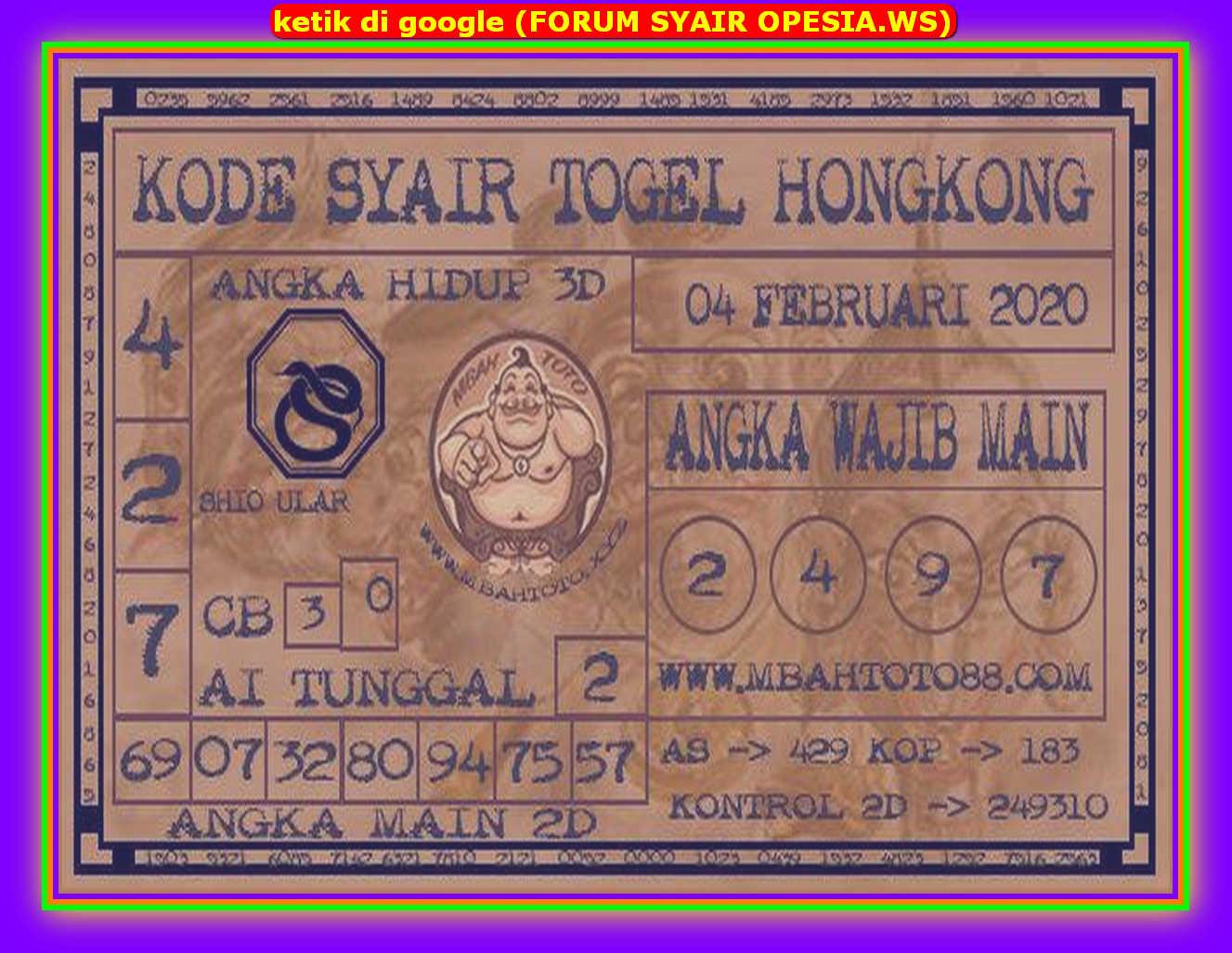 Kode syair Hongkong Selasa 4 Februari 2020 191