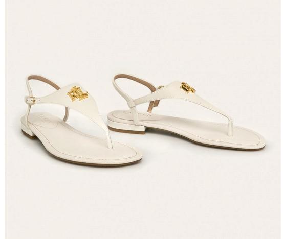 Lauren Ralph Lauren - Sandale de piele albe cu logo auriu