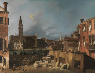Canaletto's early work The Stonemasons' Yard contrasted with the 'picture postcard' views for which he became famous
