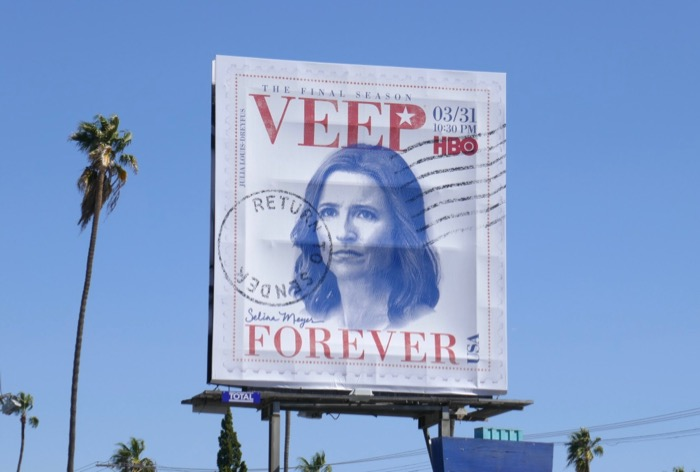 Veep final season Forever stamp billboard