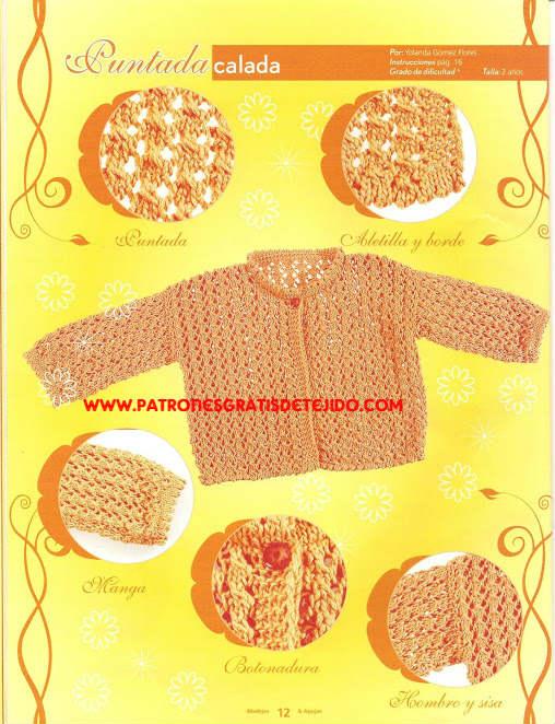 saquito de bebe tejido con patrones