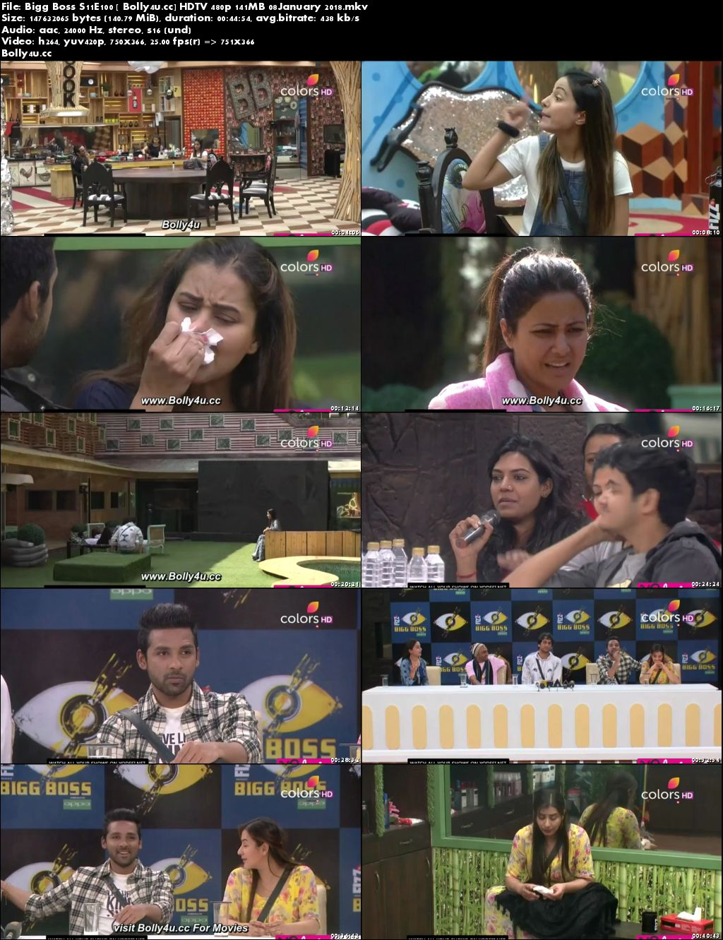 Bigg Boss S11E100 HDTV 480p 140MB 08 January 2018 Download