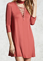 Forever21 coral lace-up dress