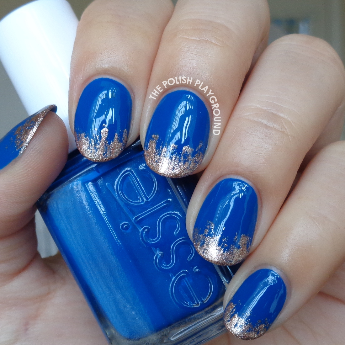 The Polish Playground: Royal Blue with Rose Gold Tips