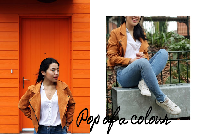 Orange suede jacket outfit