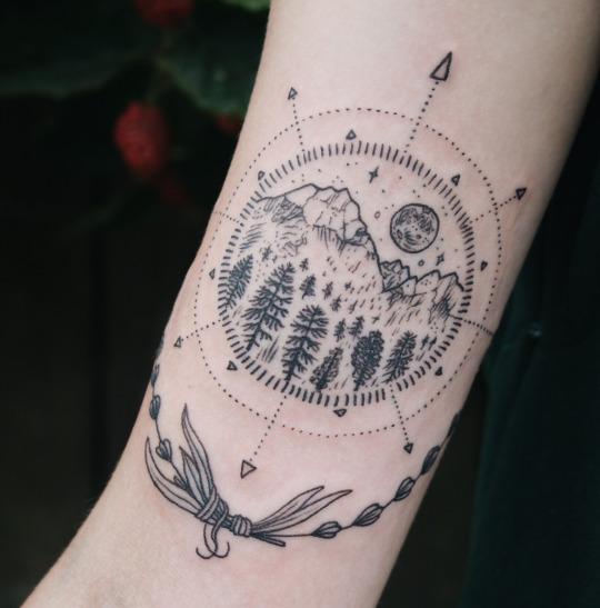 Amazing Mountain Compass Tattoo