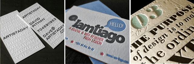 cartão de visitas letterpress