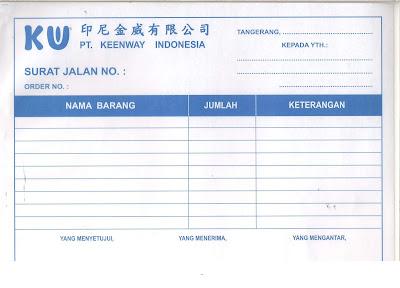 Contoh Form Surat Jalan Perusahaan