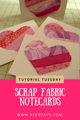 Handmade Valentine's Day Note Cards from Fabric Scraps Sewing Project