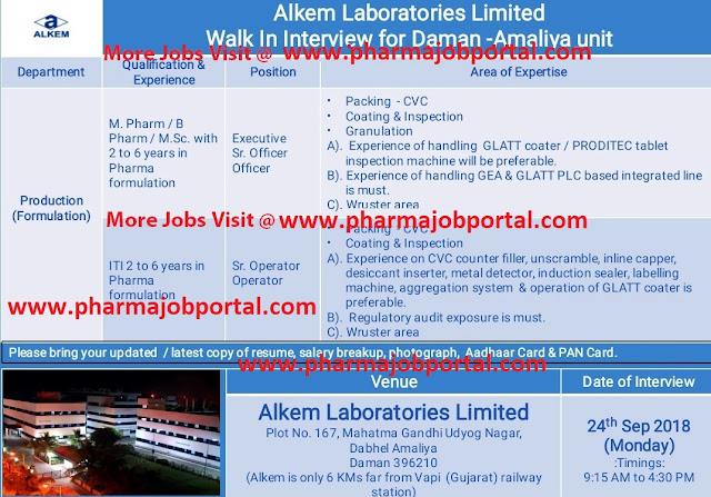 Alkem Laboratories Walk In Interview For ITI, M.Pharm, B.Pharm, M.Scat 24 Sep