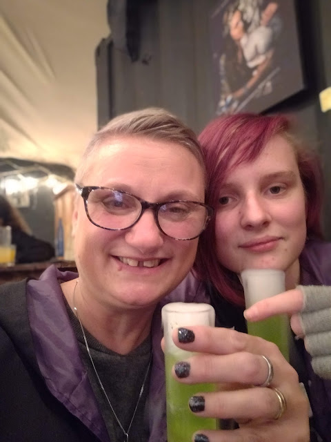 madmumof7 and daughter with bubbling shots  at The cauldron, London