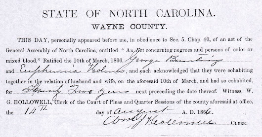 Cohabitation Records – Invaluable to Documenting Marriages of Those Formerly Enslaved  #BlackHistoryMonth